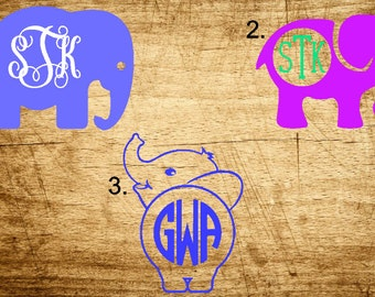 Elephant Monogram Decals