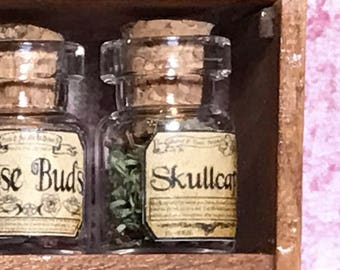 "Jar of SKULLCAP for a dollhouse, witch's herbs and poisons, dollhouse size, in a glass jar 1:12 1/12 1"", under 1"" tall, (simulated)"