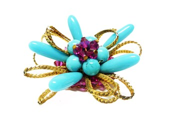 Hattie Carnegie Turquoise Atomic Brooch with Fuchsia Pink Stones & Mesh Chain Ribbon