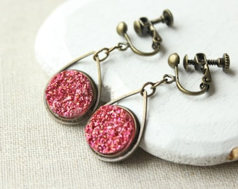 Iridescent Hot pink Druzy earrings, Druzy dangle earrings, antique brass drop, pierced or screw back clips, faux druzy lightweight E229