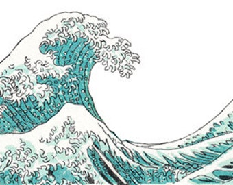 Ocean Waves Water Shore Japanese Style - Digital Image - Vintage Art Illustration - Instant Download