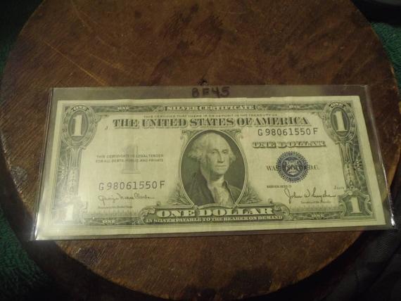 1935 D Silver Certificate Blue Seal One Dollar Bill BF45