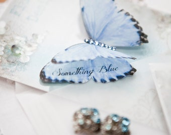 Gorgeous Something Blue silk Butterfly, the perfect wedding day gift. Personalise with your dates - Handmade - Bride - Wedding - Keepsake.