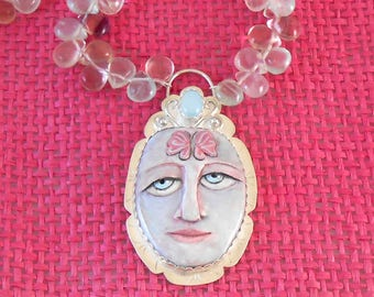Polymer Clay Painted Face with Butterfly, Sterling and Fluorite Necklace