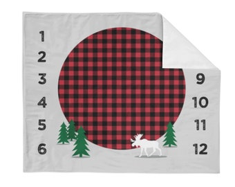 Monthly Milestone Blanket Buffalo Plaid - Crib Blanket - Baby Blanket - Tree Baby Blanket - Monthly Counter Blanket - Boy Baby Gift