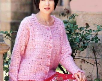 Pink mohair crochet woman vest / order