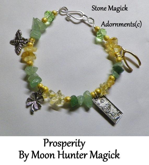 Stone Magick Prosperity Bracelet Money Drawing Charm Talisman Amulet Crystal Healing Reiki