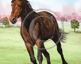 Running Horse Equine Print, Watercolor, Art Equine Decor, Horse prints and horse paintings