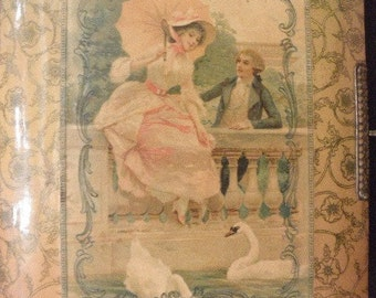 Antique Celluloid Photo Album with  Lovers and Metal Clasp