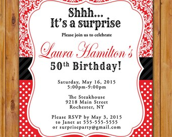 Red surprise birthday invite party invitation womans red white black adult surprise birthday party invite damask polka dots pattern 50th 60th 45th printable invitation 5x7 digital jpg 445 filmwisefo