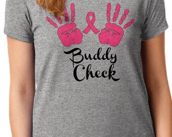 Buddy Check Breast Cancer Awareness Short Sleeve Shirt FREE SHIPPING