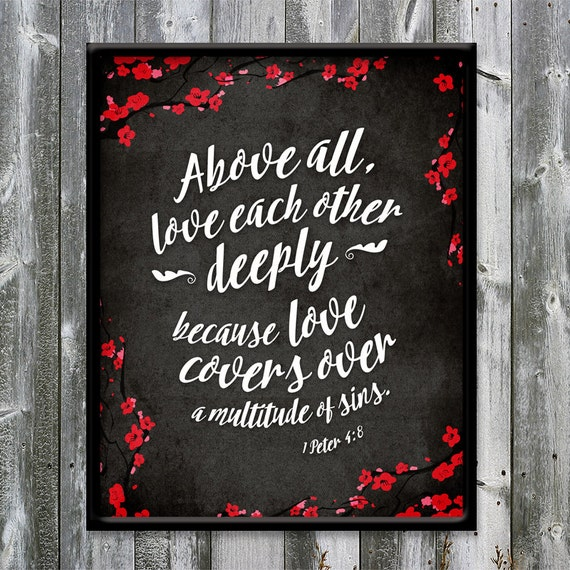 Love Each Other Deeply: 1 Peter 4:8 Love Each Other Deeply Love Covers Black