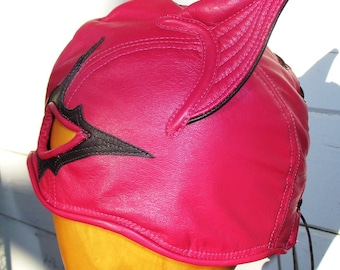 PRICE LOWERED!!!/ Pink Fuschia Leather Half Hood Mask with Kitty Ears/ Black Eye Detail