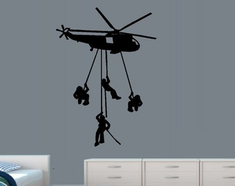 """Helicopter with Dropping Soldiers #1 ~ Wall decal:  20"""" x 31"""""""