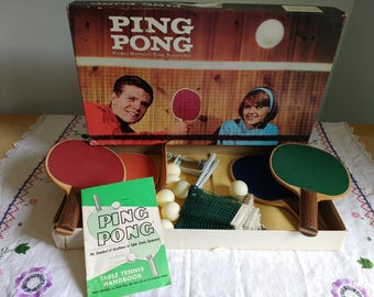 Vintage Table Tennis Ping Pong Set by Parker Brothers 1960's Original Box Excellent Condition Rec Room Game or Decor