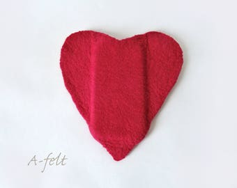 Felt heart phone case St. Valentine gift soft cover smartphone wool purse Handmade Biodegradable Gift for love ones Please yourself