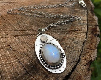 Rainbow Moonstone Necklace, Sterling Silver Rainbow Moonstone, Moonstone Necklace, Rainbow Moonstone