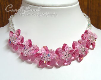 Crystal Necklace; Swarovski Necklace; Glass Necklace; Rosy Rose Swarovski Crystal Necklace with Adjustable Clasp by CandyBead (N015-01)