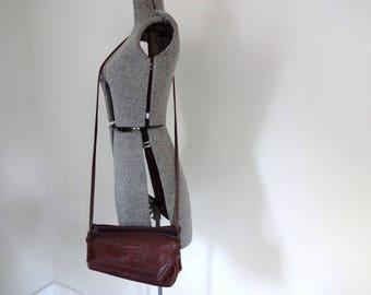 Vintage LEATHER Bag •1990s Handmade Purse •Modern Unique Leather Basic Long Shoulder Strap Crossbody Bag Simple Handbag