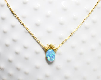 Turquoise Opal Stone Pineapple Necklace Dainty Blue Pineapple Necklace Bridesmaid Gift Bridesmaid Necklace