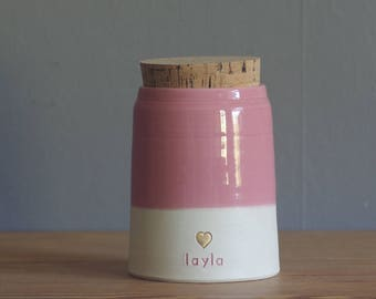 Cremation urn with gold accent, custom color urn, human or pet cremains or urn for ashes. modern urn. porcelain and carnation pink shown