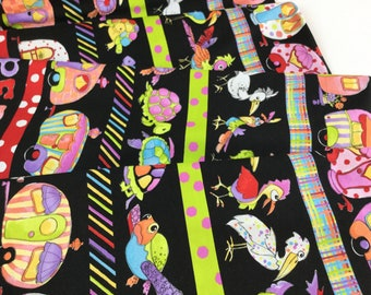 """New ~ 23"""" Panel Borders Black Color ~ Happy Camper Collection By Loralie Designs Fabric"""