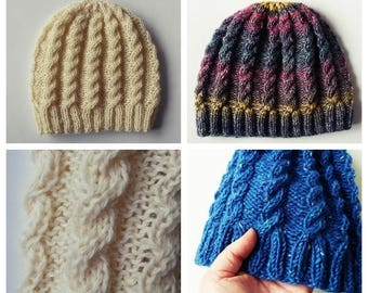 Knitting pattern: instant download PDF. Beanie hat pattern. Aran cable hat. Cable knit pattern. Aran hat pattern. Classic cable beanie.