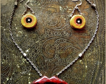 Wearing a monster Surreal necklace and earrings - Handmade jewelry sculpt
