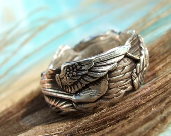 Unique Silver Jewelry, Silver Ring, Gathered Wings, Custom Size Ring in Oxidized Silver, Whole Half Sizes 4 5 6 7 8 9 10 11 12 13 14 15
