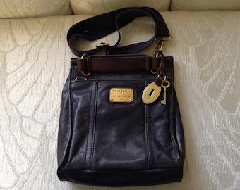 Fossil Long Live Vintage Black Leather Crossbody Shoulder Bag