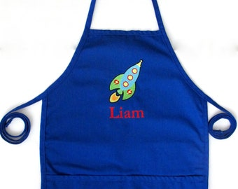 Personalized Apron with Rocket Ship Design and Name - Custom Space Apron