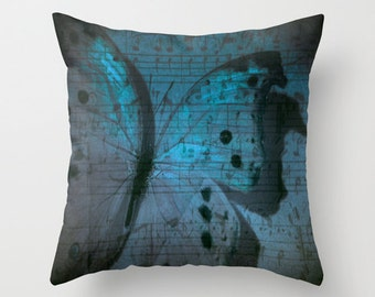 """Decorative, Throw pillow, """"Butterfly Midnight Symphony"""" Photo Pillow cover, Cushion, Various Sizes, indoor, outdoor, dreamy, music notes"""