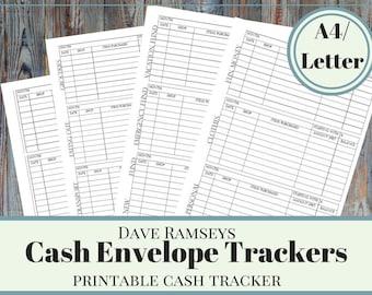 Cash Budget Envelope System Tracker, Printable Cash Envelope, Dave Ramsey Cash Envelope Trackers, Monthly Cash Budget System,
