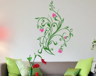 Flower Vines Wall Decal by Stickerbrand. #5321m