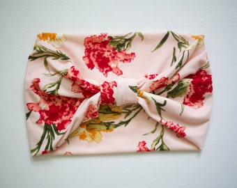 Women's Knit Stretch Headband - Pink & Yellow Floral