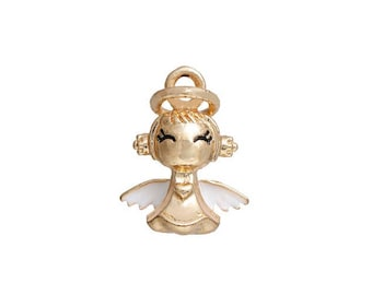 x 1 metal gold and white Angel pendant charm