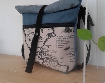 Backpack Convertible bag with vintage map print in black and white