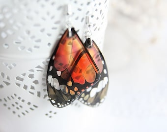 Orange earrings for women gift for girlfriend tiny Butterfly earrings Wanderlust jewelry Gift for nature lover Unique jewelry Summer earring