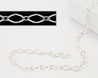 4mm x 3mm Bright Silver Oval Link Cable Chain #CC252