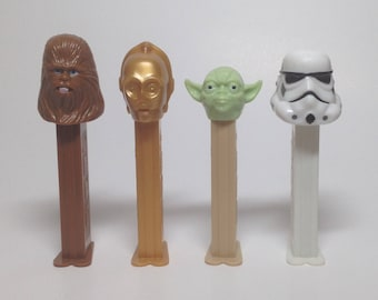Star Wars 2 Pez collection - LOT of4- Chewbacca, C-3PO, Yoda and Storm Trooper