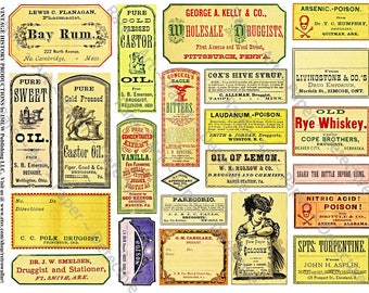PRINTED Apothecary Labels Antique Druggist Clip Art Paper Vintage Inspired Pharmacy Stickers Mixed Media Clip Art DIY Old Bottle Labels 368a