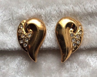 Vintage Style Gold Tone Leaf Clip On Earrings With Diamantés