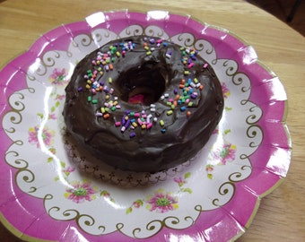 Fake Food Prop - Chocolate Donut with Chocolate Glaze and Rainbow Sprinkles -Kitchen Decor Display - Handmade Chocolate Doughnut - Gift
