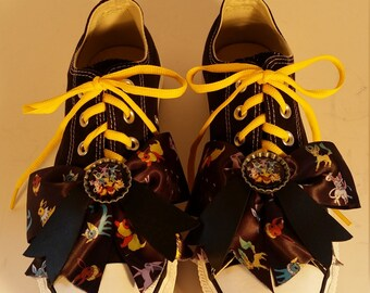 Size 9 M Upcycled Pokemon Black Converse Short Top Womens Sneakers