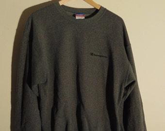 Vintage Champion Mens M Crewneck Sweatshirt L/S Spell Out Script Logo Blue Gray 90s