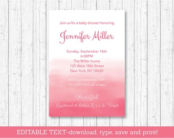 Blush Pink Ombre Baby Shower Invitation / Watercolor Baby Shower Invite / Baby Girl Shower / INSTANT DOWNLOAD Editable PDF A108