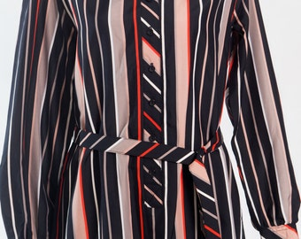 Vintage 1980s black and red striped shirt dress (Size 16 Aust/ 12 USA/ 16 UK)