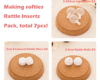 Rattle Inserts Pack of 7pcs, include 2 Small Rattle Balls, 2 Small Enclosed Rattle Discs and 3 Small Squeakers, DIY Toy Making