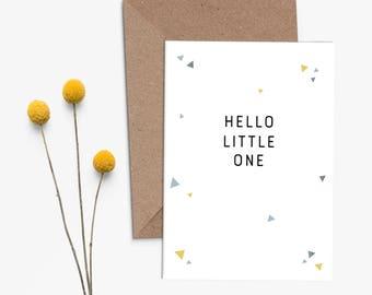 """Greeting Card """"Hello little One"""" (grey) - Birth Welcome Baby Kid Boy Girl Unisex simplistic geometric modern fresh"""