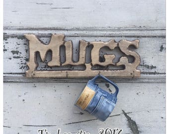 Vintage Wood Mug Rack Mug Holder for Wall - Mug Rack - Mug Holder - Vintage Mug Holder - Wooden Mug Rack - Wood Mug Rack -Coffee Cup Storage